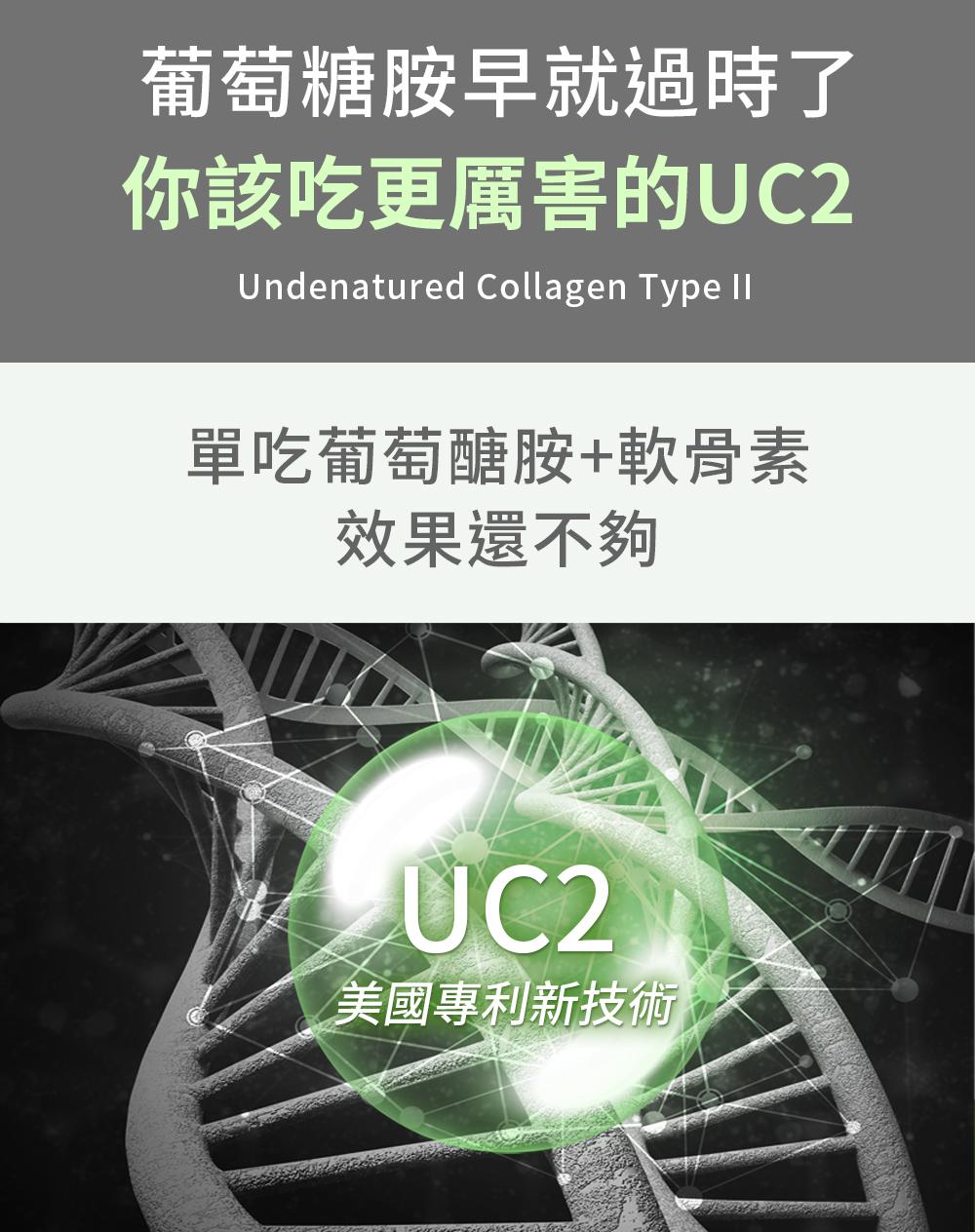 UC2活力步行非變性2型膠原蛋白-單吃葡萄醣胺+軟骨素還不夠