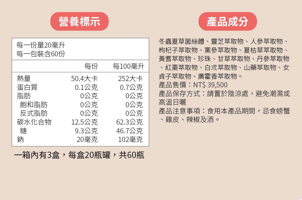 天仙液強效型-標準型-營養標示-食品成分-商品規格-立即訂購0800-666-922